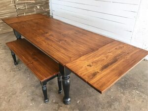 farmhouse table made with pine with extensions