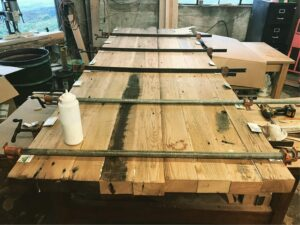 reclaimed chestnut beams glued for tabletop