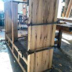 reclaimed chestnut china cabinet being built