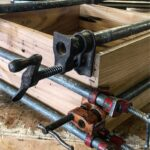 clamped reclaimed chestnut dovetail drawers