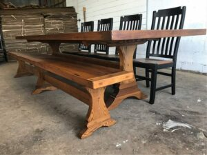 reclaimed chestnut trestle base and bench