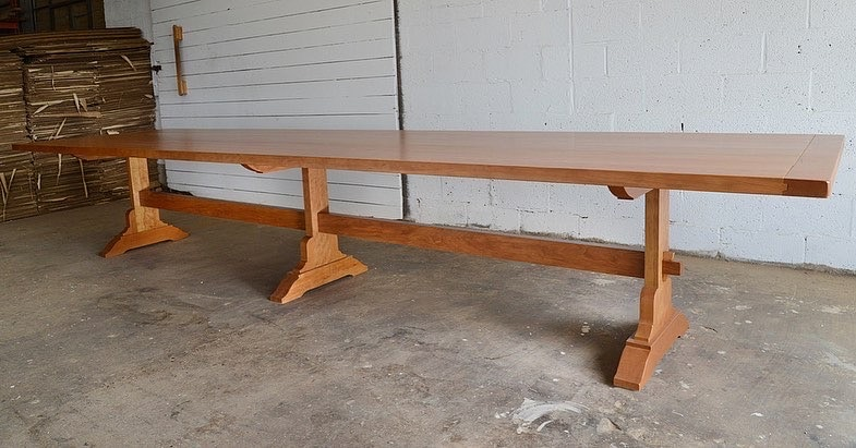 finished table cherry mission trestle table