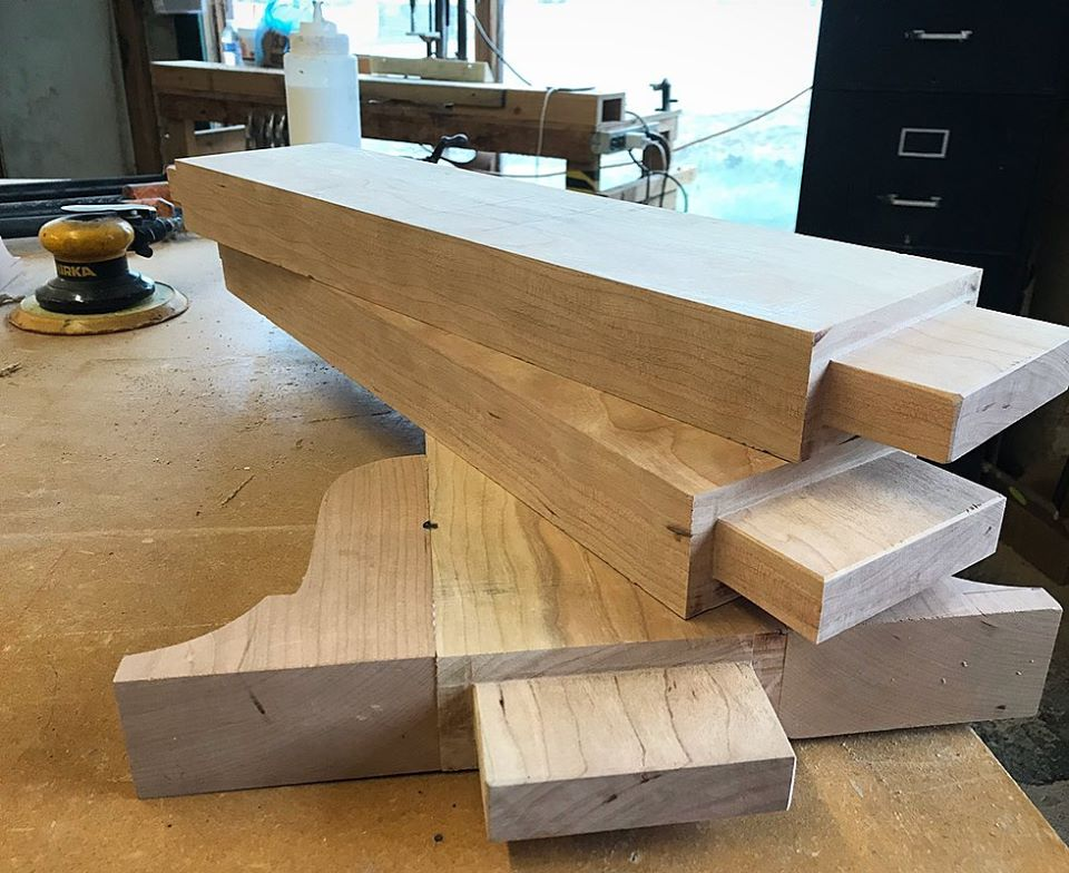 mortise and tenon table base ready to be assembled